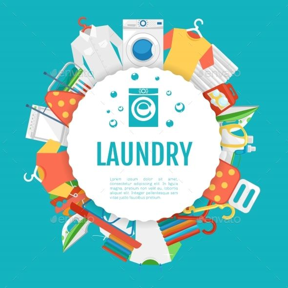 Laundry Service Poster Design Icons Circle Label Laundry Icons