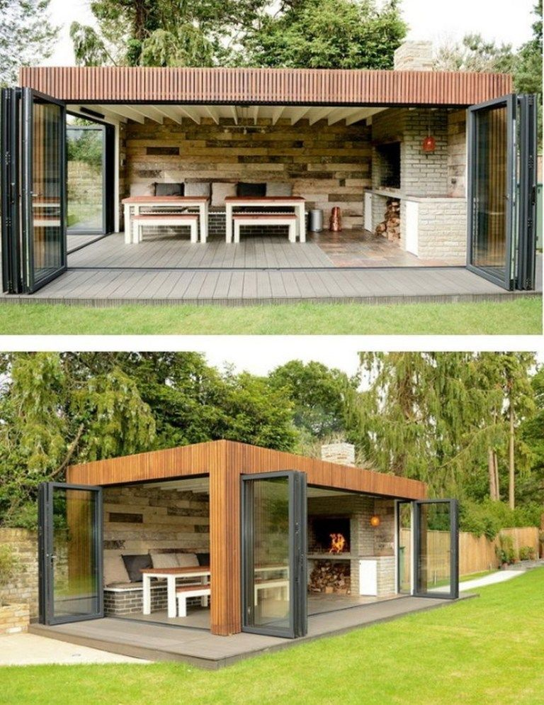Photo of Backyard Storage Shed, Backyard Storage, Barbecue House, Outdoor Kitchen Design, Out …