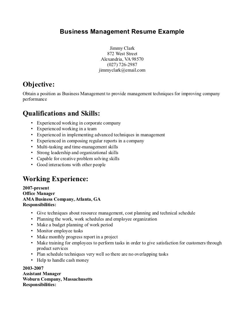 Captivating Resume Examples Business Management #business #examples #management #resume  #ResumeExamples