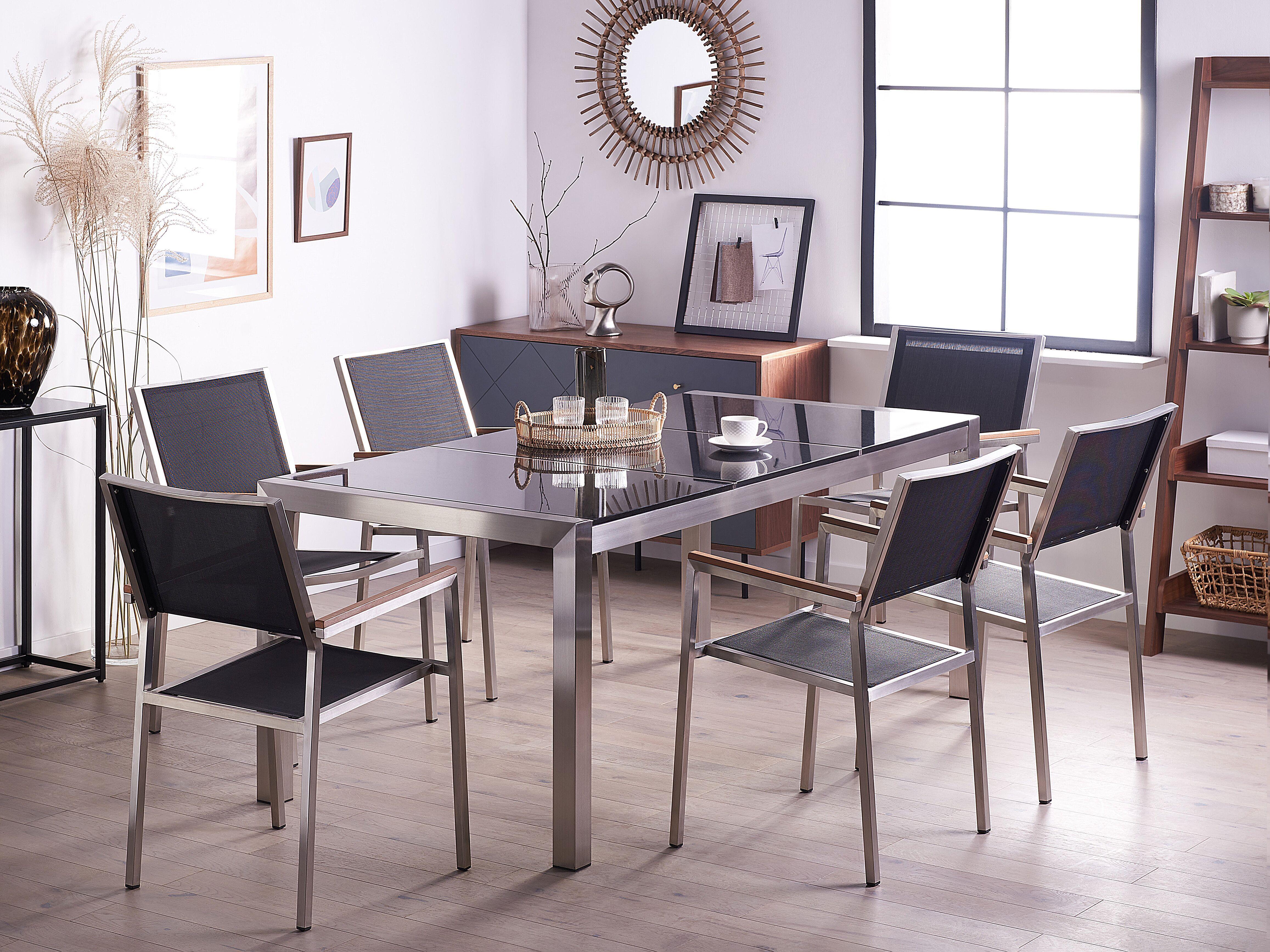 Photo of Set di tavolo e sedie da giardino in acciaio, basalto e fibra tessile – Nero lucido – 180cm – GROSSETO