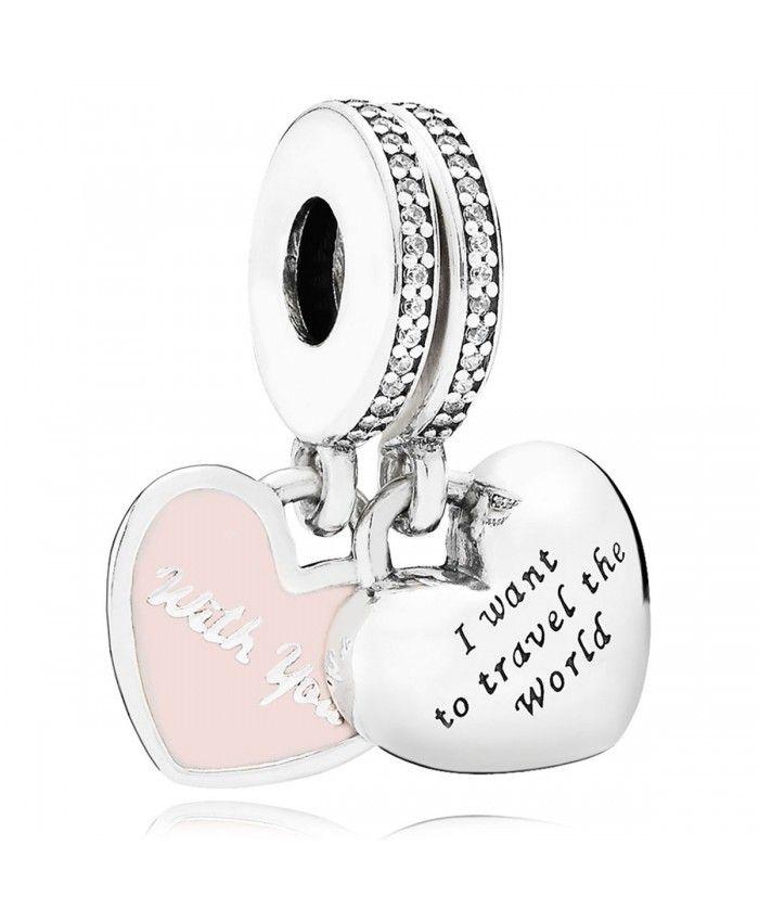 c2b60023a Pandora Travel Together Forever Pink Enamel Cz Dangle Charm UK Sale ...