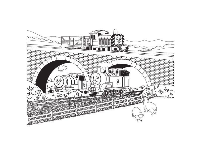 kleurplaten james trein