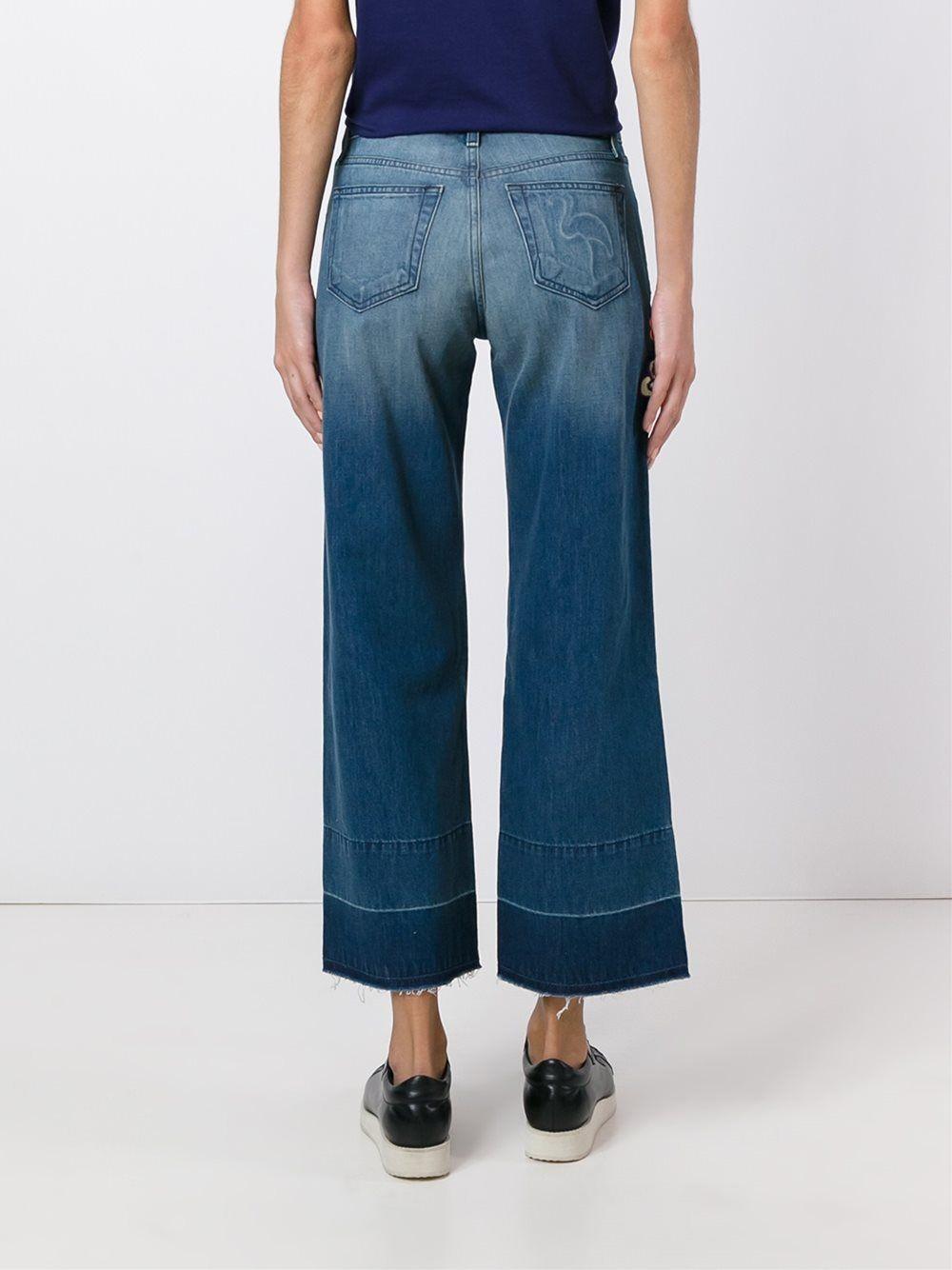 Sandrine Rose укороченные джинсы с цветочной вышивкой