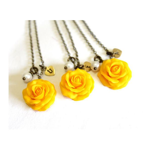 Set of 3 4 yellow rose necklaceyellow pendantpersonalized set of 3 4 yellow rose necklaceyellow pendantpersonalized initial mozeypictures Images