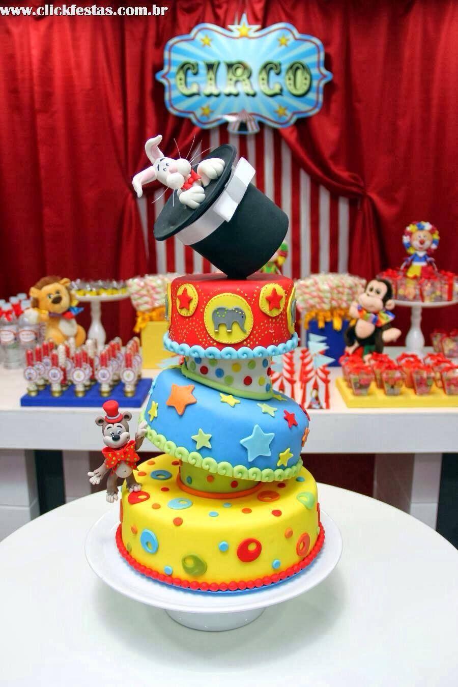 Bolo Circo | Bolo Fake em 2019 | Bolo circo, Decoração ...