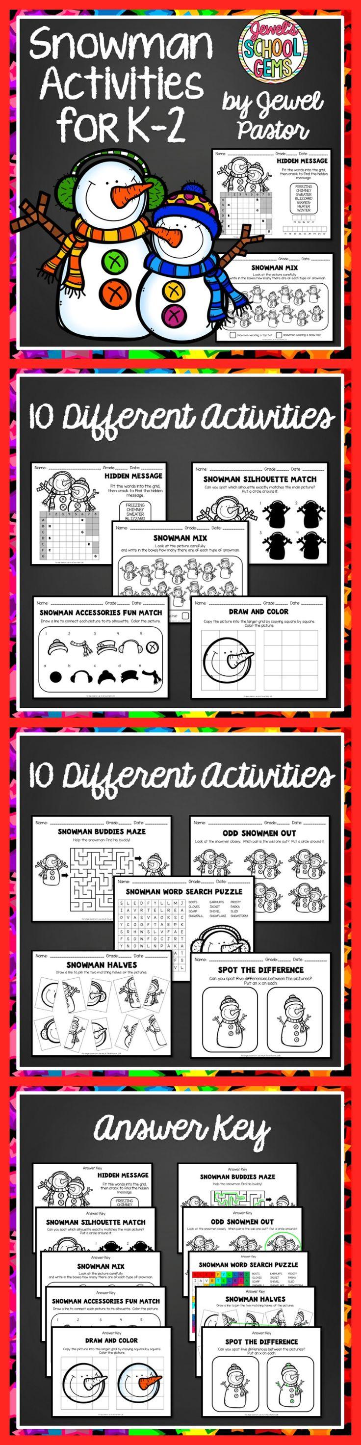 Christmas Worksheets Snowman Activities for Kindergarten 1st and