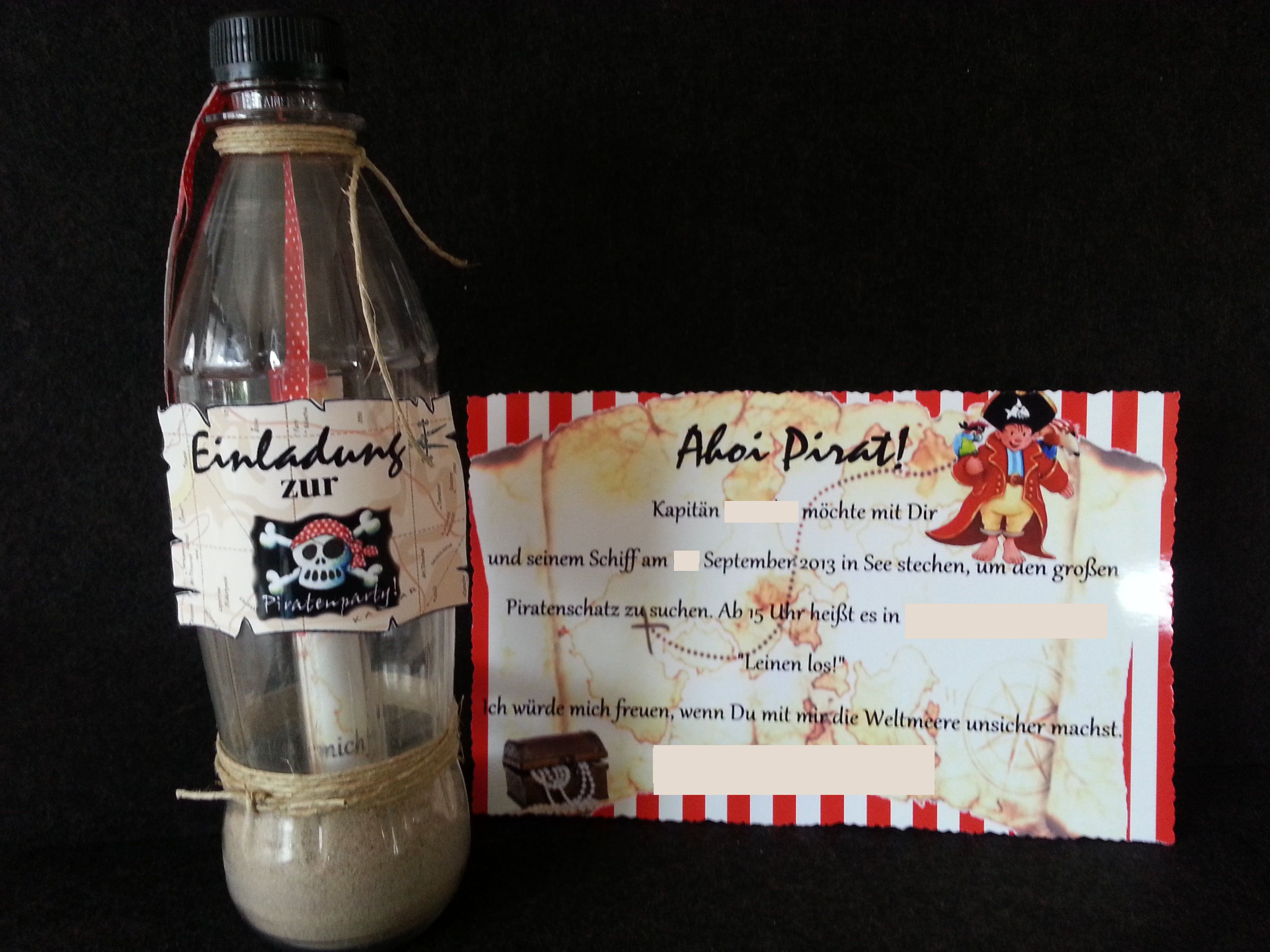 piratenparty flaschenpost einladung kindergeburtstag, Einladung