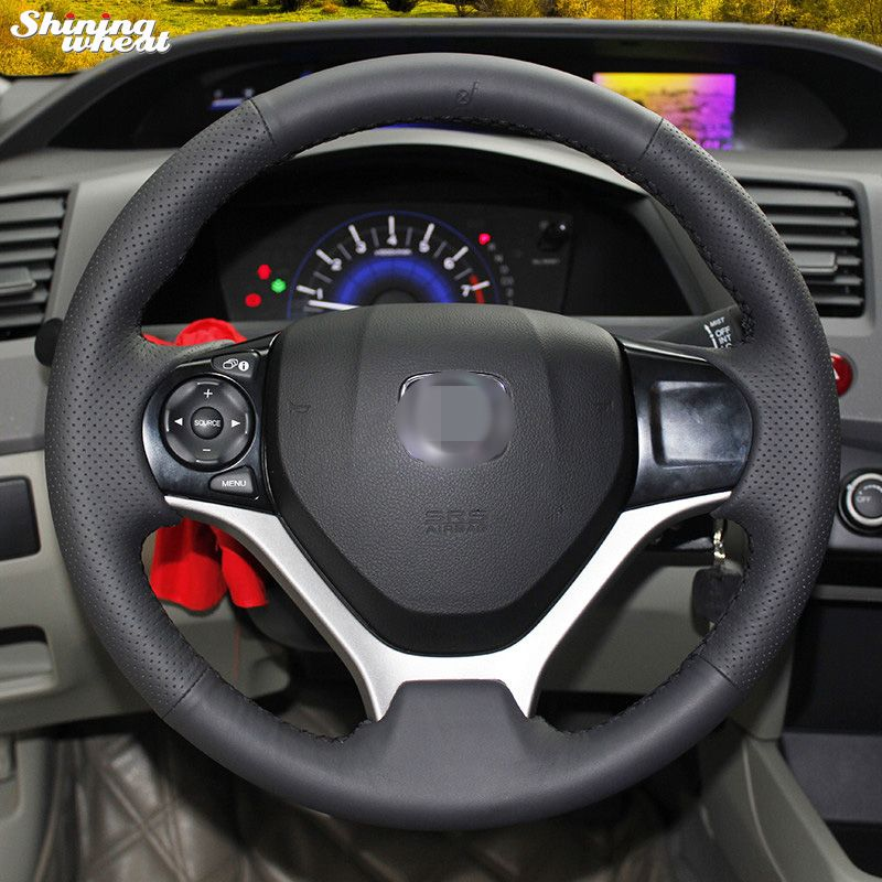 Shining Wheat Hand Stitched Black Leather Steering Wheel Cover For Honda Civic 2012 2014 Honda Civic 2012 Honda Civic Steering Wheel Cover