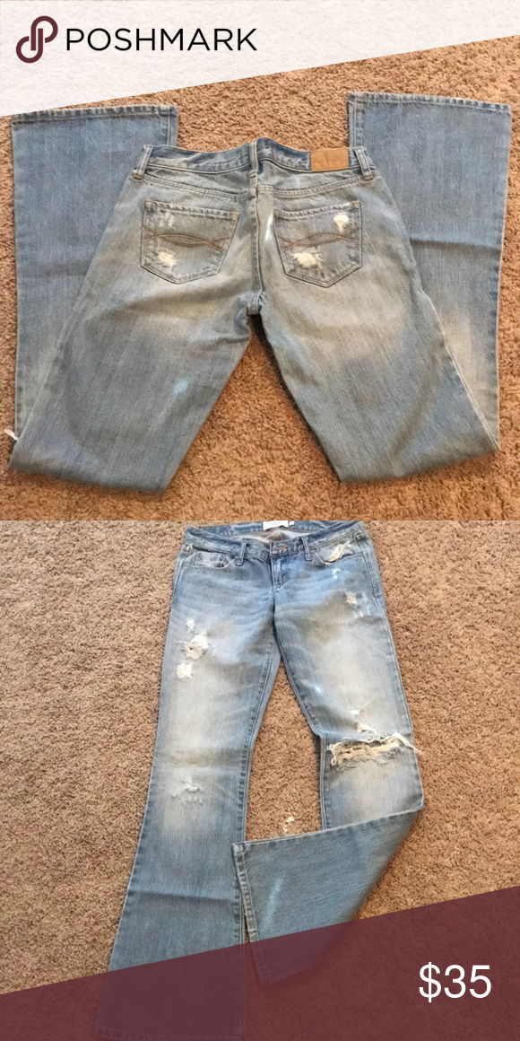 5cad0277d5b Abercrombie & Fitch Madison Jeans Light colored distressed jeans size: OR  Abercrombie & Fitch Jeans Flare & Wide Leg