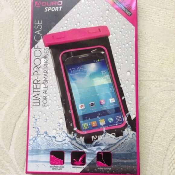 Smart Phone Water-Proof Case Aduro Sport water-proof case. Universal size fits ALL Smartphones. Windows on both sides, perfect for taking pictures or videos. Protects your smartphone from water, sand and dirt. It will float. Maintain full touchscreen functionality. New, never opened. I bought 3 for my family. I have 2 more available. One in pink and one in black. My iPhone 6+ size 6 1/2 x 3 1/4 with case on fits inside. Aduro Accessories