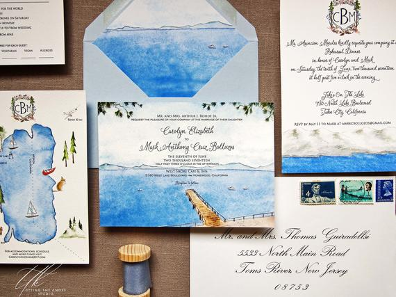 Lake Tahoe Wedding Invitations Watercolor Wedding Invites