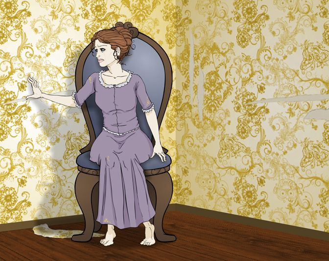 Drawn For Previous Job To Illustrate The Short Story Yellow Wallpaper By Charlotte