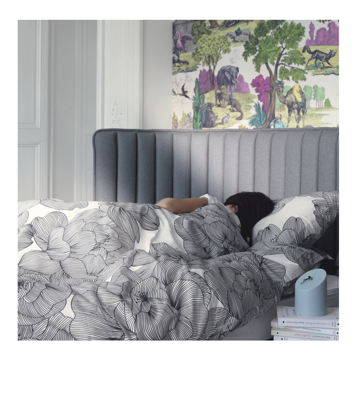 boudoir lits gris anthracite tissu habitat d co pinterest lit lit gris et t te de lit grise. Black Bedroom Furniture Sets. Home Design Ideas