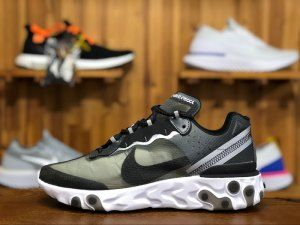 sports shoes 4aef5 bab4e Nike React Element 87 Anthracite Black White AQ1090 001 Mens Running Shoes