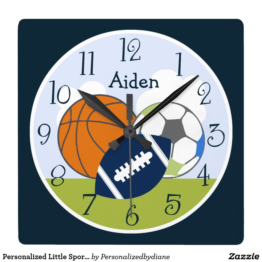 Personalized Little Sports Player Kids Clock