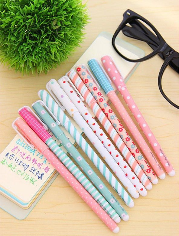 Gel Pens 10 Colorful Kawaii Korean Stationary Design 0.38 mm. x 10 Free Shipping in Business & Industrial, Office, Office Supplies | eBay