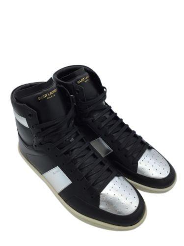 e4284d6674b MENS YSL SAINT LAURENT SL/10H Sneakers Black & Metallic silver Sz 10 BNIB DS