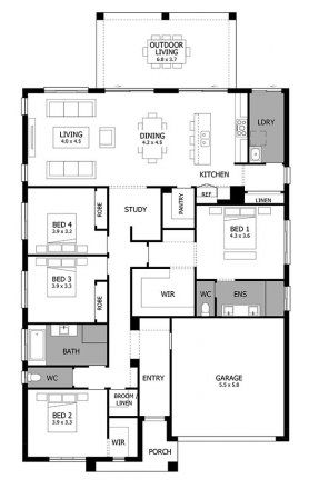 Single Story House Design Atrium Mojo Homes Four Bedroom House Plans Single Story House Floor Plans Bedroom House Plans