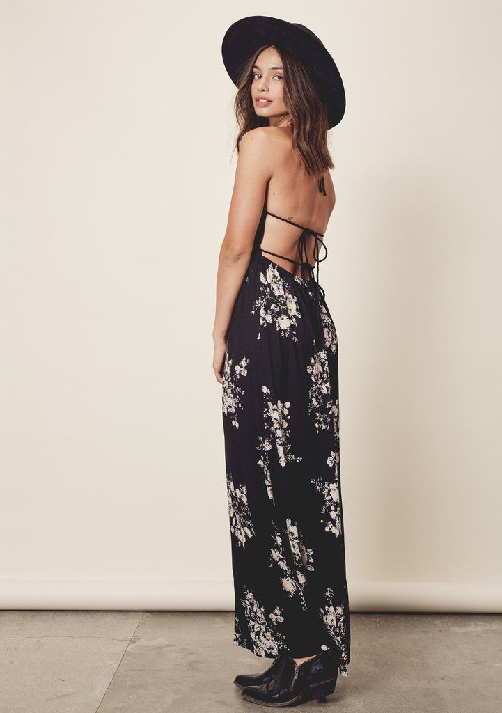 Talia Dress - Sleeveless, floral printed maxi dress featuring a braided accent empire waist and straps with a sexy, strappy tie back detail and halter. #lovestitch