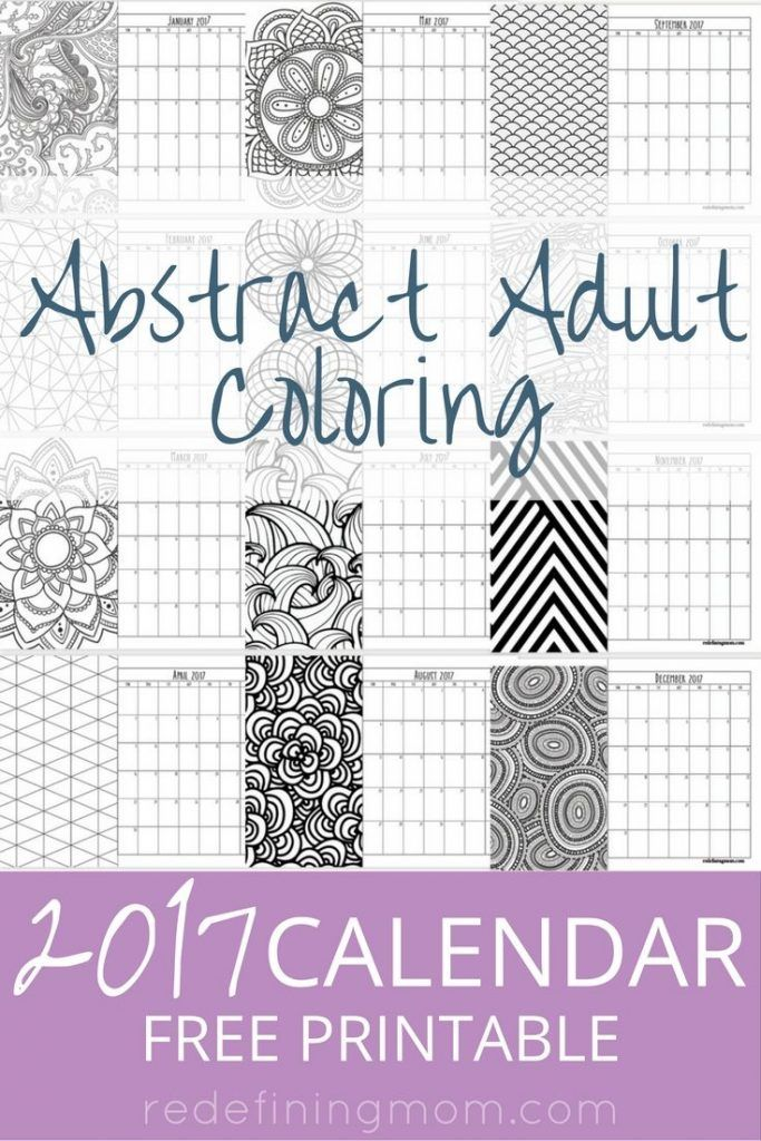 Abstract Adult Coloring 2017 Calendar Free Printable Adult - printable 2017 calendar