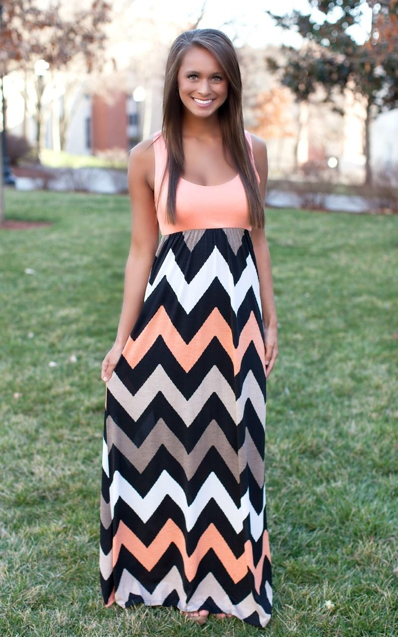 Coral Chevron Tank Maxi Dress