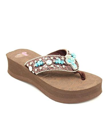 f058b85d4f6 Take a look at this Brown Carly Flip-Flop - Women by Justin Boots on   zulily today!