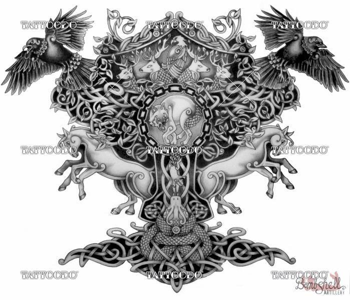 Winning Design For Yggdrasil Norse Mythology Half Sleeve Tatuagem Viking Tatoo Tatuagem Nordica
