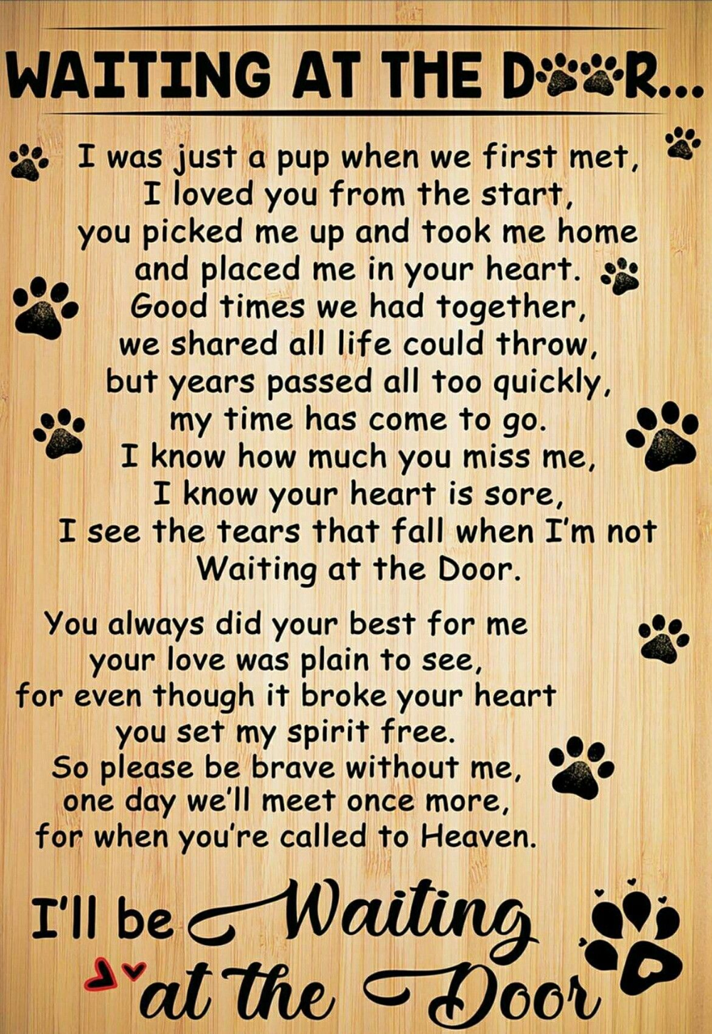 Waiting At The Door Dog Poem Google Search Dog Quotes Love Dog Quotes Dog Poems