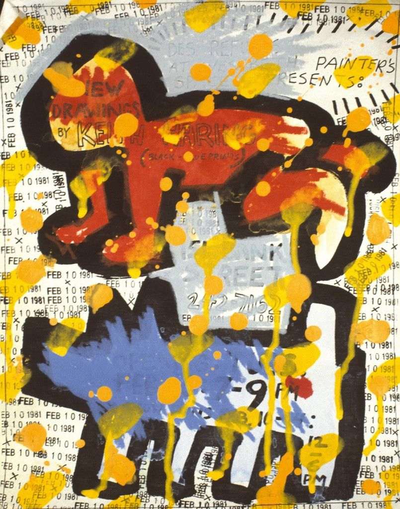Keith Haring / flyer for Des Refuses at Westbeth Painters Space, NYC, Feb. 10, 1981 acrylic & ink on paper