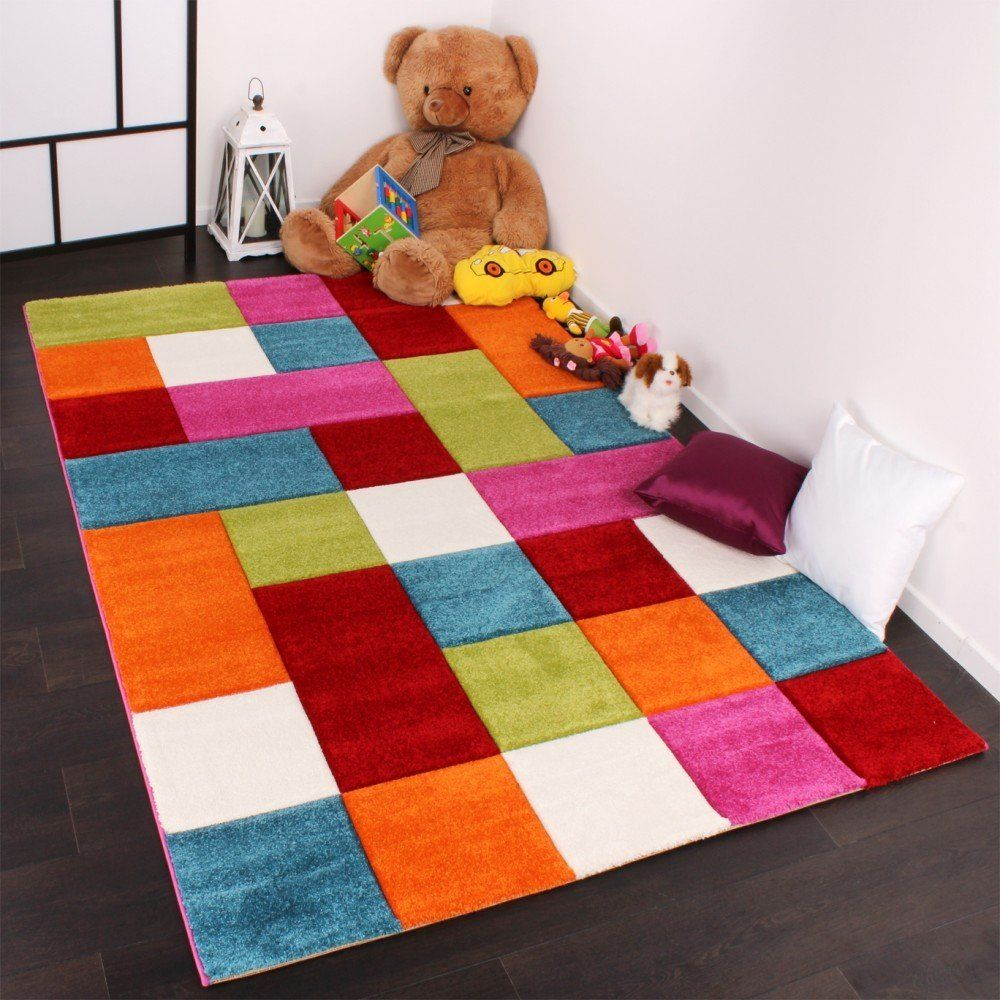 Amazon De Kinder Teppich Karo Design Multicolour Grun Rot Grau