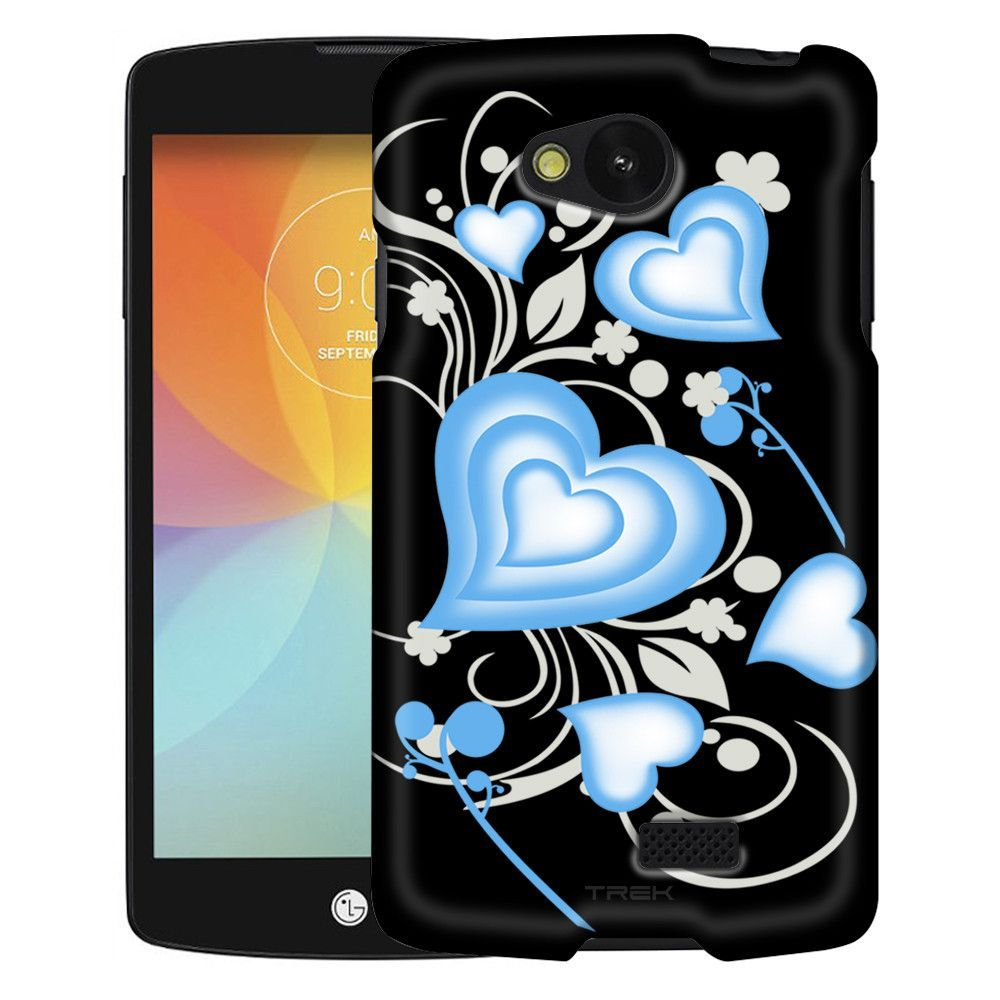 LG Optimus F60 Brave Heart Blue on Black Slim Case