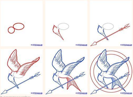 Mockingbird Drawing Tutorial Hongerspelen Dieren Tekenen Disney Tekenen