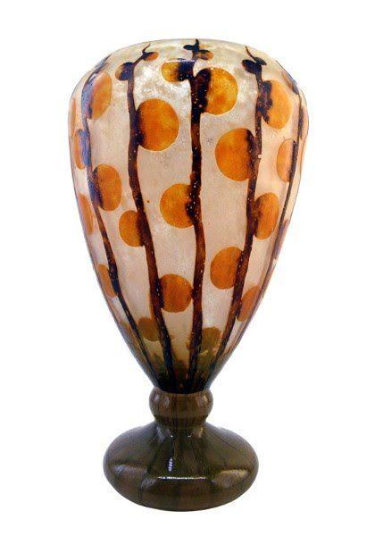 """SCHNEIDER LE VERRE FRANCAIS Vase """"Monnaies du Pape"""" 1919-1921 - Art Deco Ceramic Glass Light"""