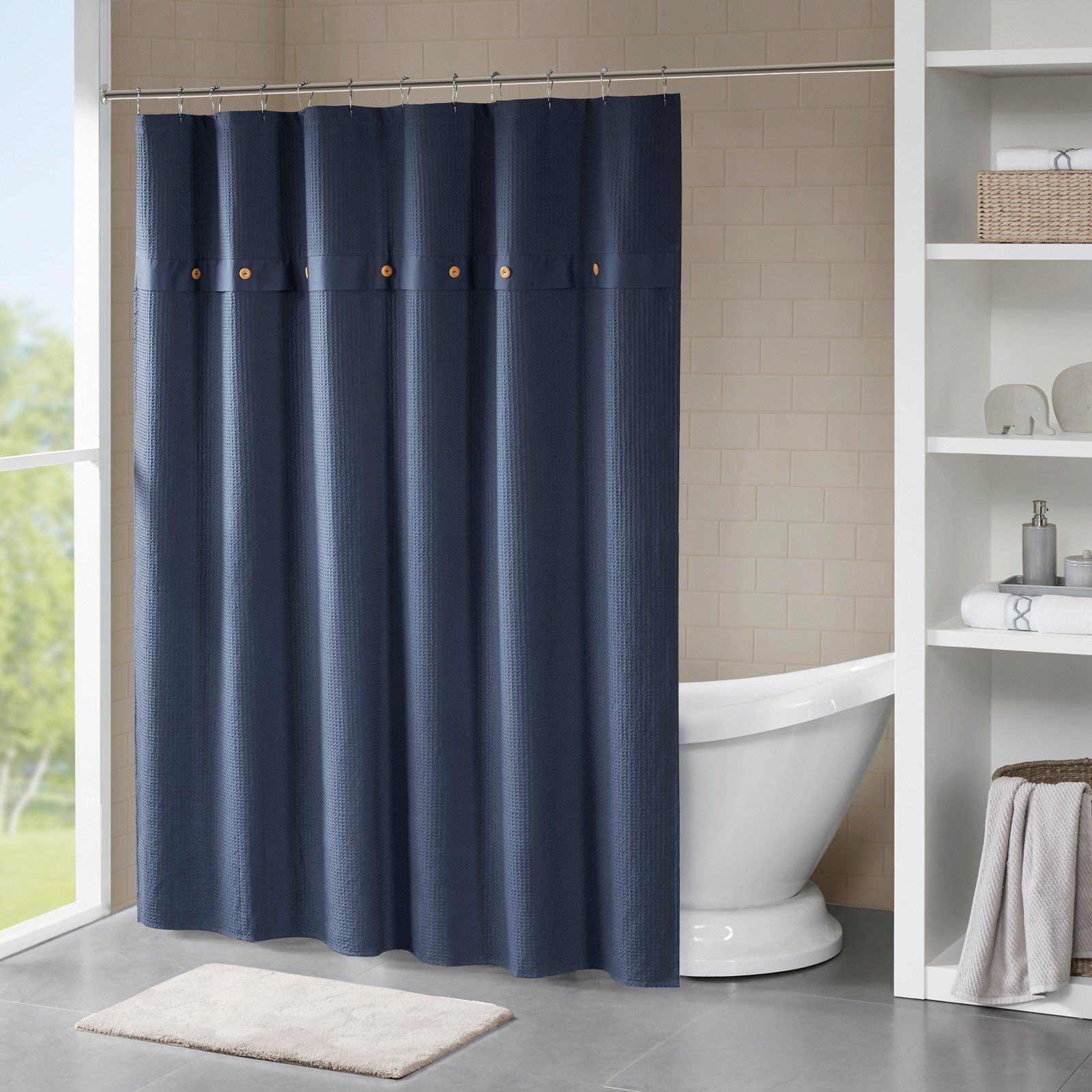 Madison Park Finley Waffle Weave Cotton Shower Curtain Navy