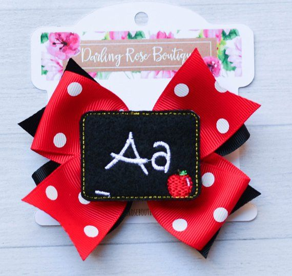 Back to School hair bow 4 large feltie embellished - first day of school chalkboard theme hairbow g #firstdayofschoolhairstyles