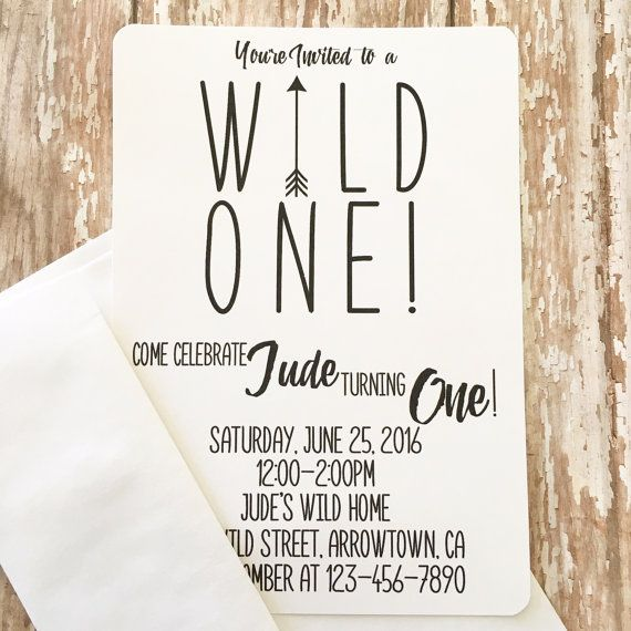 12 Wild One First Birthday Invitations Printed 1st Black And White Arrow Invites