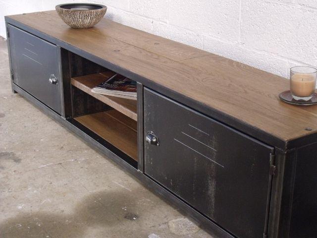 Meuble TV bas bois métal - Meuble loft -MICHELI Design | idée ...
