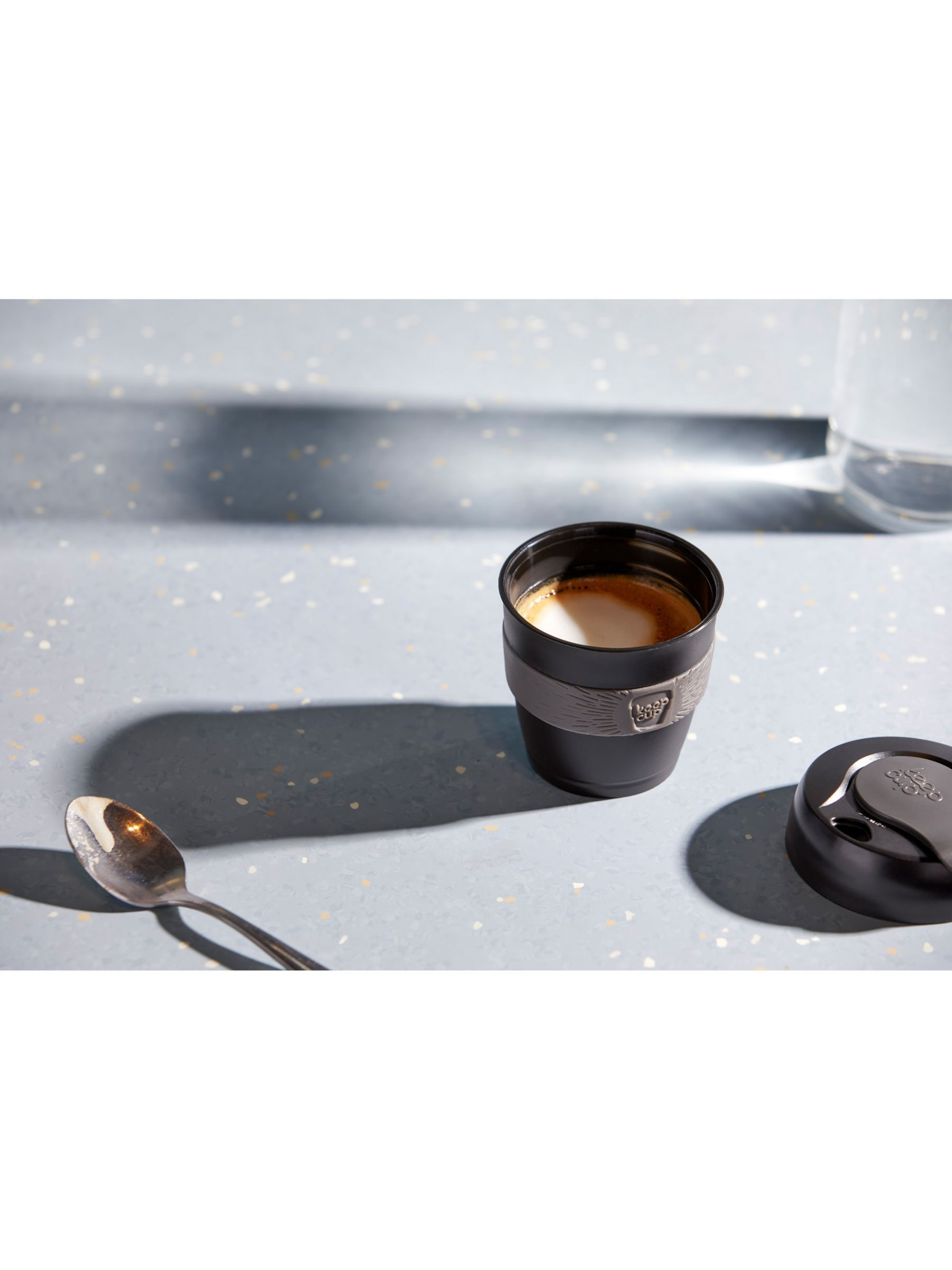 KeepCup Brew Reusable 12oz Glass Coffee Cup Travel Mug, 340ml, ClearBlack