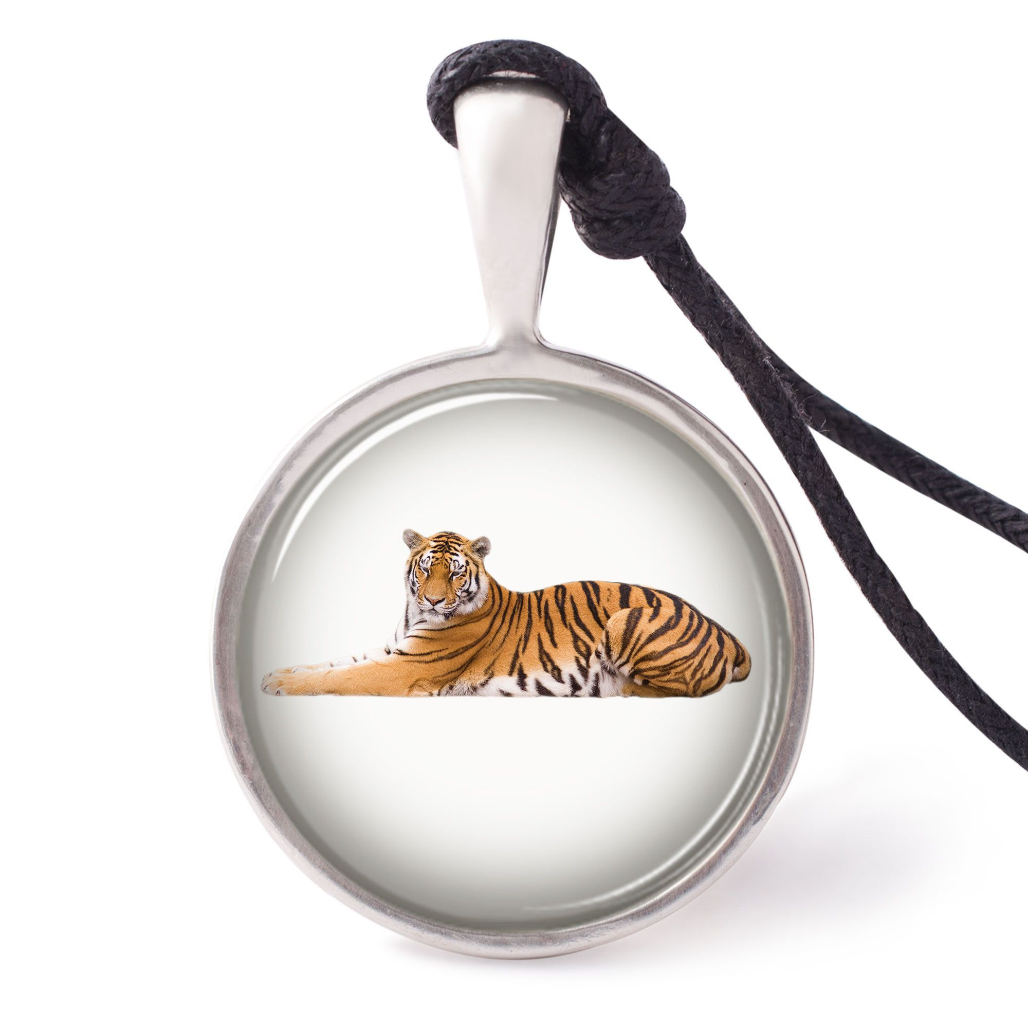 vietguild Cute Tiger Cub Necklace Pendants Pewter Silver
