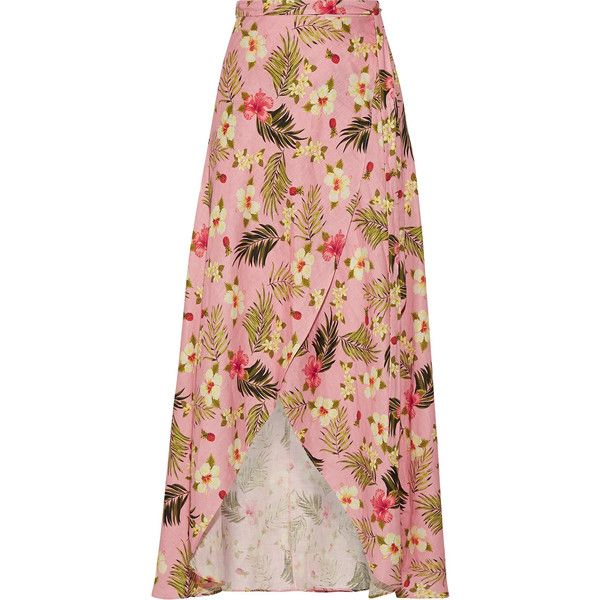 36012434320 Miguelina Ballerina printed linen wrap maxi skirt ( 320) ❤ liked on  Polyvore featuring skirts