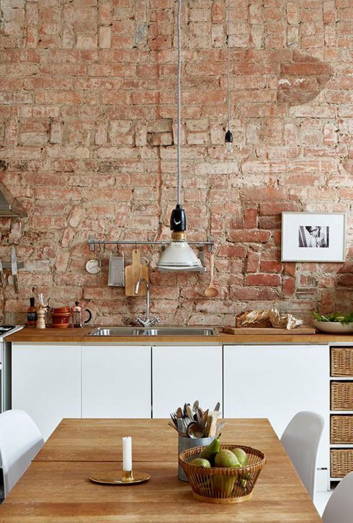 Brique Rouge, Cuisine Contemporaine, Parement Briques
