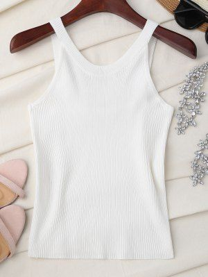 94fc623d1332d High Neckline Knitted Tank Top - White One Size
