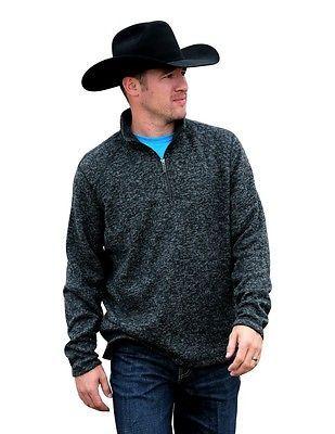 Cinch Western Sweatshirt Mens Pullover Zip Sweater M Gray