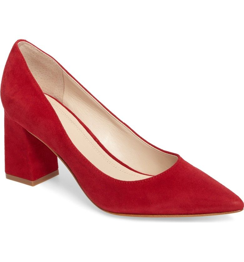 Zala Pump Main Color Red Suede Block Heels Pumps Women S Pumps Pumps