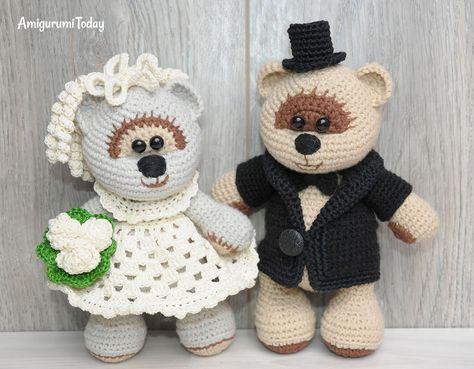 Amigurumi wedding bears: crochet pattern   Crochet   Pinterest ...