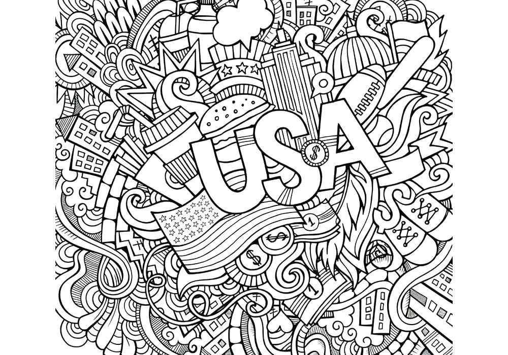 Раскраска антистресс- США. Скачать антистресс. Распечатать ...