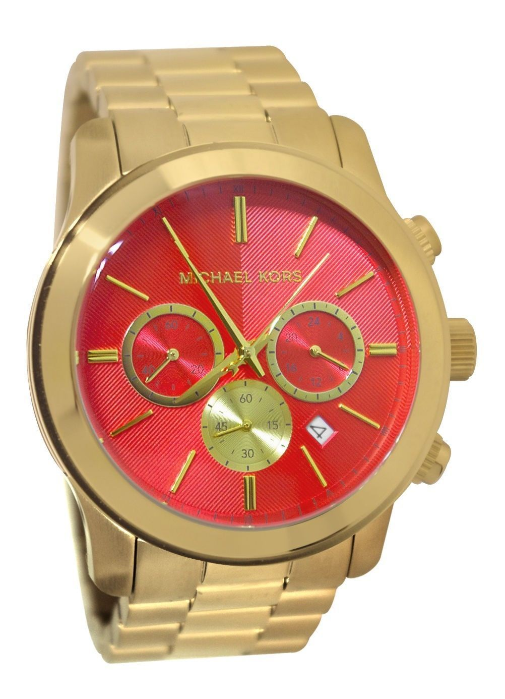 3f1fdd0f8 100% AUTHENTIC MICHAEL KORS MK5930 ORANGE FACE GOLD WOMENS RUNWAY WATCH!