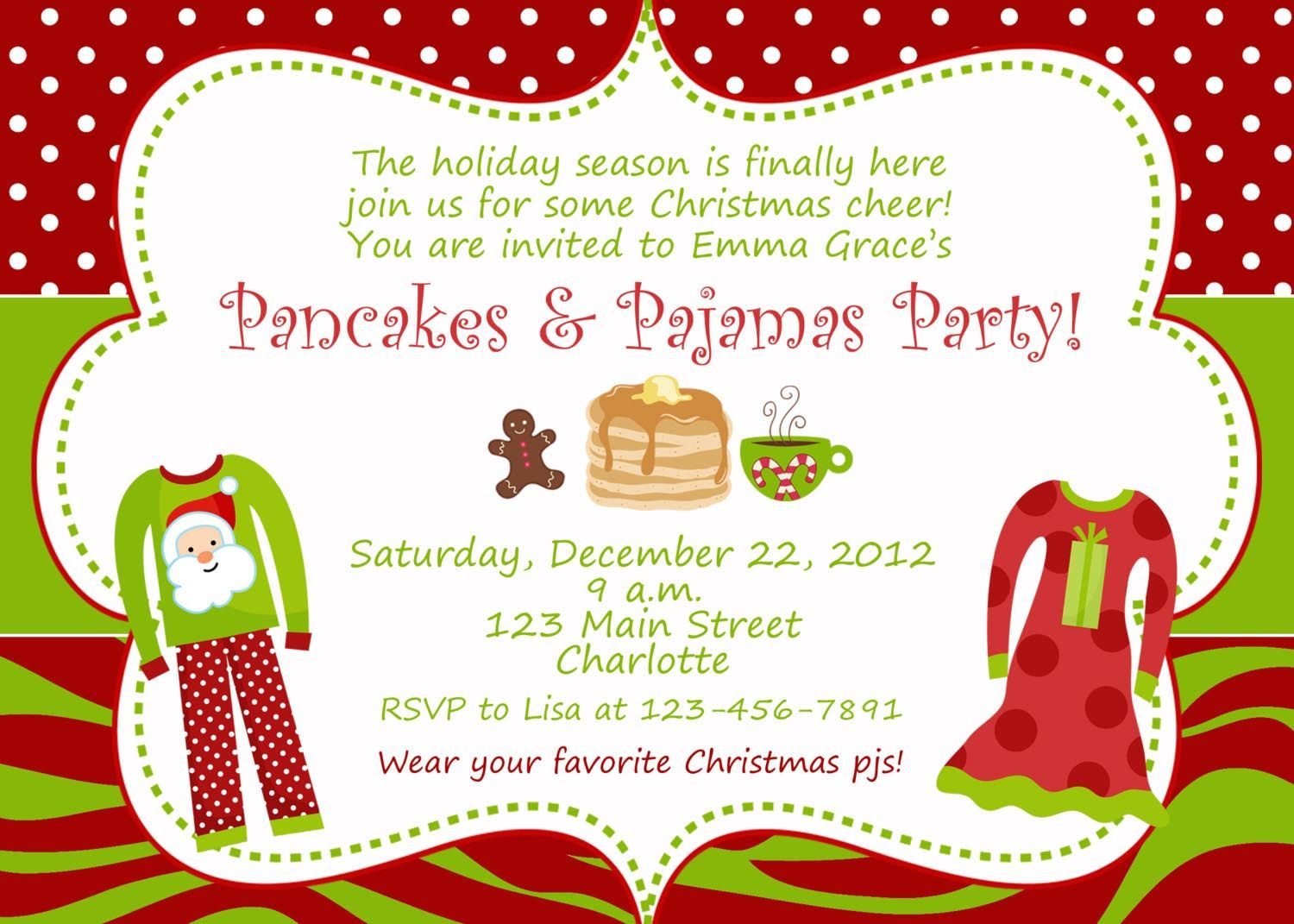 Christmas Pajama Party Invitations | Pajama Party | Pinterest ...