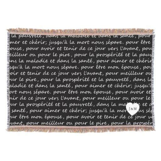 Vintage French Wedding Vows Black And White Throw Blanket Zazzle Com Wedding Vows French Wedding White Throw Blanket