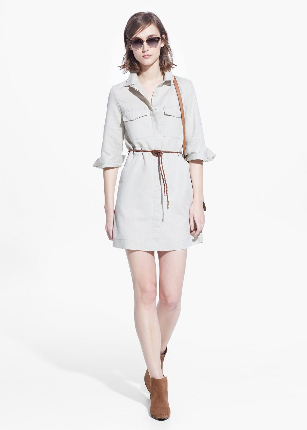 21c08829a Vestido camisero lino - Mujer